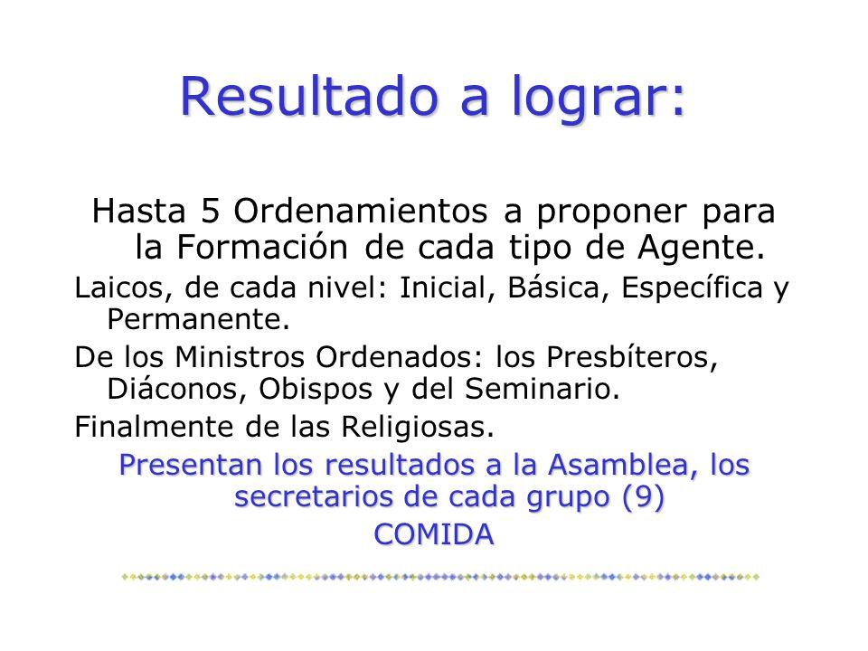 Resultado a lograr: Hasta 5 Ordenamientos a proponer para la Formación de cada tipo de Agente. Laicos, de cada nivel: Inicial, Básica, Específica y Pe