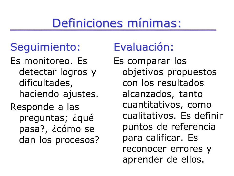 Definiciones mínimas: Seguimiento: Es monitoreo. Es detectar logros y dificultades, haciendo ajustes. Responde a las preguntas; ¿qué pasa?, ¿cómo se d