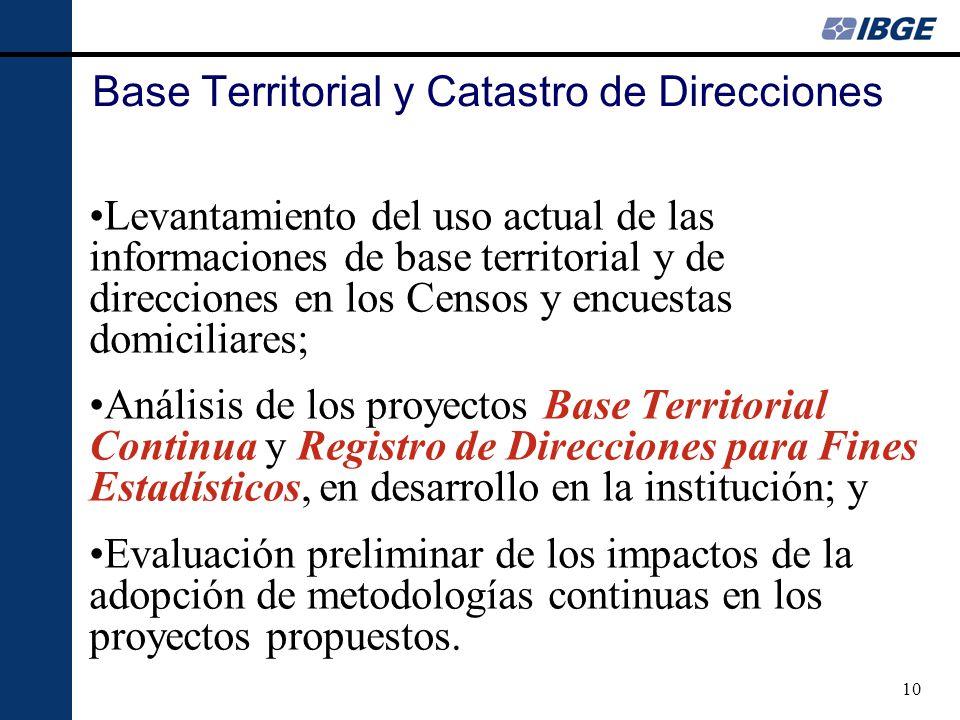 10 Base Territorial y Catastro de Direcciones Levantamiento del uso actual de las informaciones de base territorial y de direcciones en los Censos y e