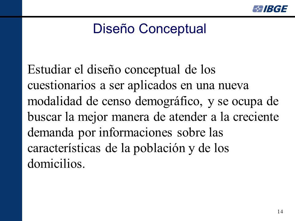 14 Diseño Conceptual Estudiar el diseño conceptual de los cuestionarios a ser aplicados en una nueva modalidad de censo demográfico, y se ocupa de bus