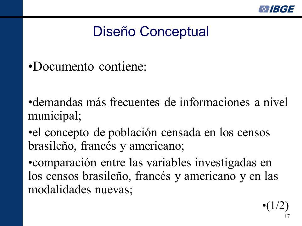 17 Diseño Conceptual Documento contiene: demandas más frecuentes de informaciones a nivel municipal; el concepto de población censada en los censos br