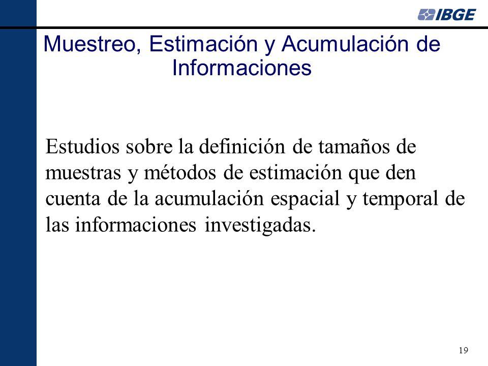 19 Estudios sobre la definición de tamaños de muestras y métodos de estimación que den cuenta de la acumulación espacial y temporal de las informaciones investigadas.