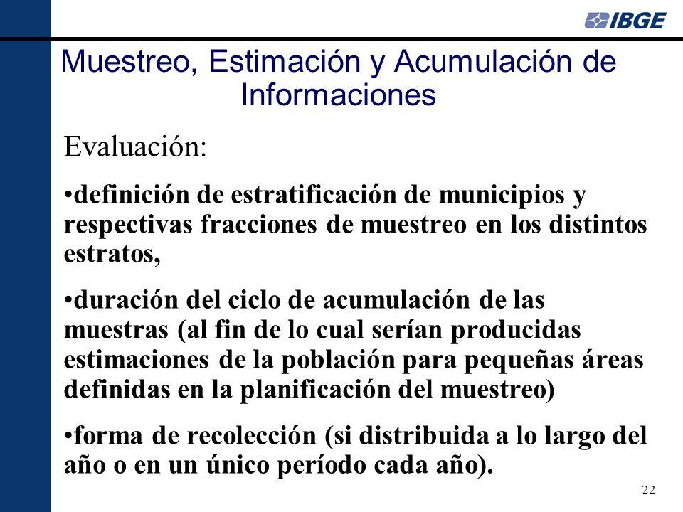 22 Muestreo, Estimación y Acumulación de Informaciones Evaluación: definición de estratificación de municipios y respectivas fracciones de muestreo en