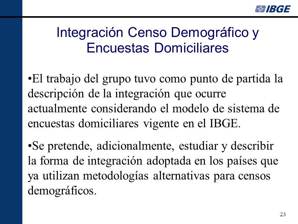 23 El trabajo del grupo tuvo como punto de partida la descripción de la integración que ocurre actualmente considerando el modelo de sistema de encues