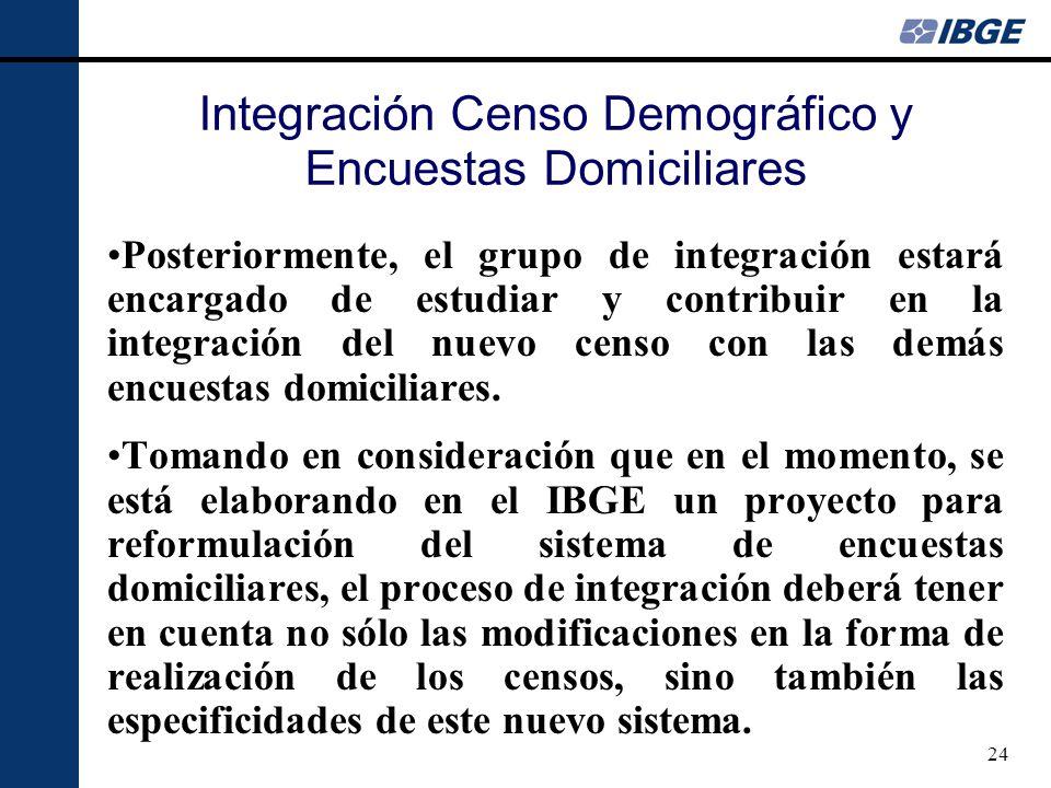 24 Posteriormente, el grupo de integración estará encargado de estudiar y contribuir en la integración del nuevo censo con las demás encuestas domiciliares.