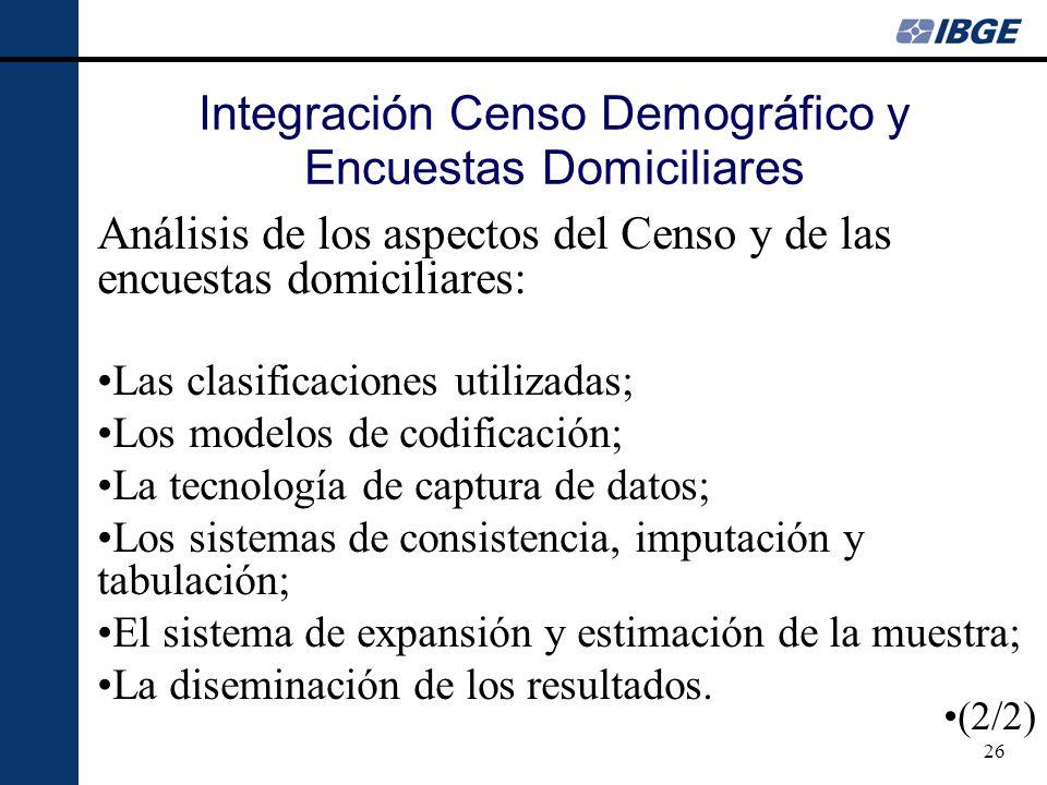 26 Integración Censo Demográfico y Encuestas Domiciliares Análisis de los aspectos del Censo y de las encuestas domiciliares: Las clasificaciones util