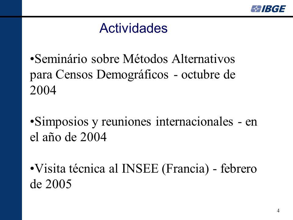 4 Actividades Seminário sobre Métodos Alternativos para Censos Demográficos - octubre de 2004 Simposios y reuniones internacionales - en el año de 2004 Visita técnica al INSEE (Francia) - febrero de 2005