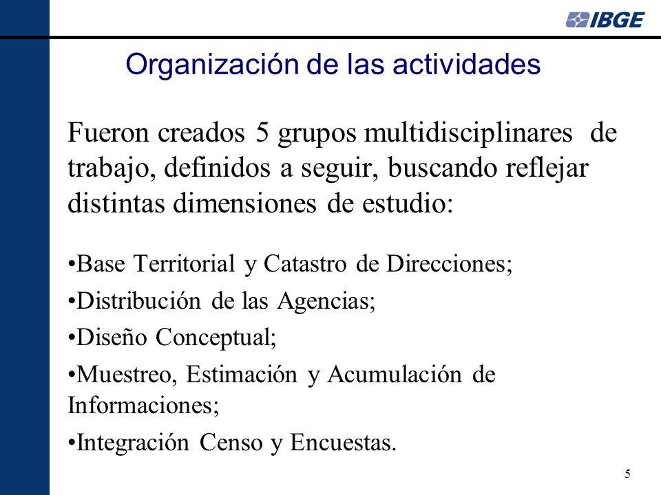 5 Organización de las actividades Fueron creados 5 grupos multidisciplinares de trabajo, definidos a seguir, buscando reflejar distintas dimensiones de estudio: Base Territorial y Catastro de Direcciones; Distribución de las Agencias; Diseño Conceptual; Muestreo, Estimación y Acumulación de Informaciones; Integración Censo y Encuestas.