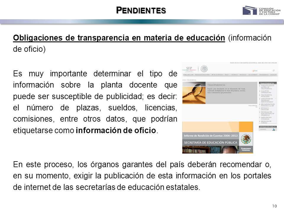 10 P ENDIENTES Obligaciones de transparencia en materia de educación (información de oficio) Es muy importante determinar el tipo de información sobre