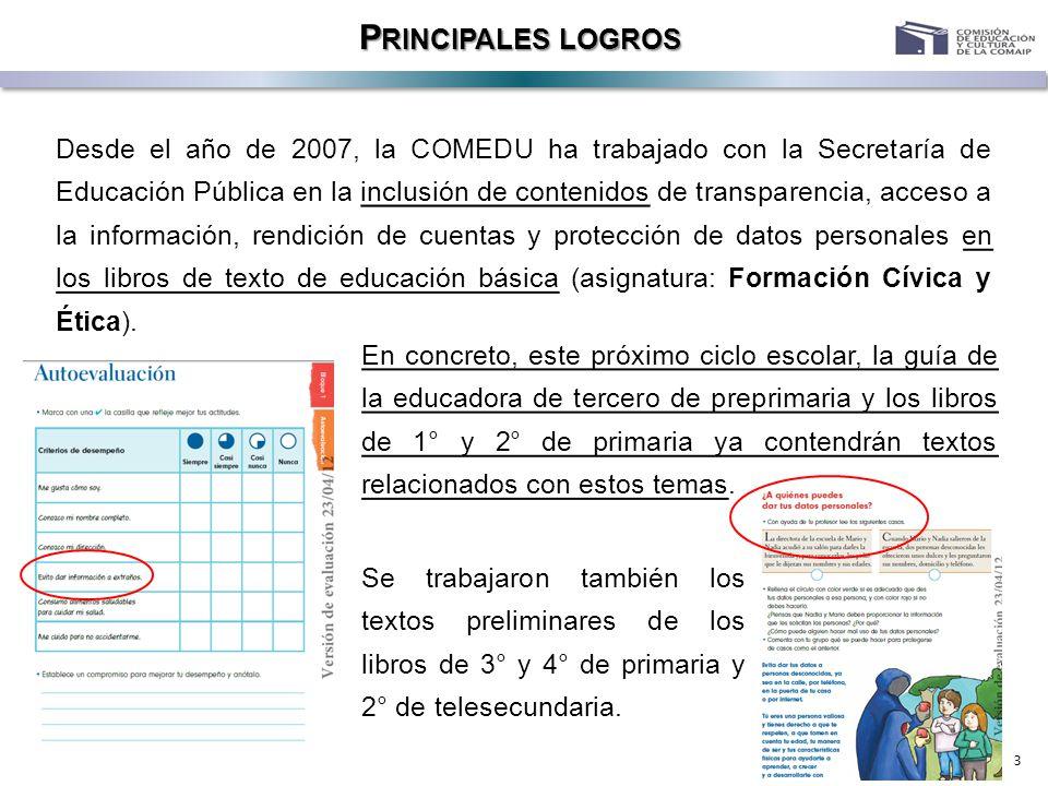 3 P RINCIPALES LOGROS Desde el año de 2007, la COMEDU ha trabajado con la Secretaría de Educación Pública en la inclusión de contenidos de transparenc