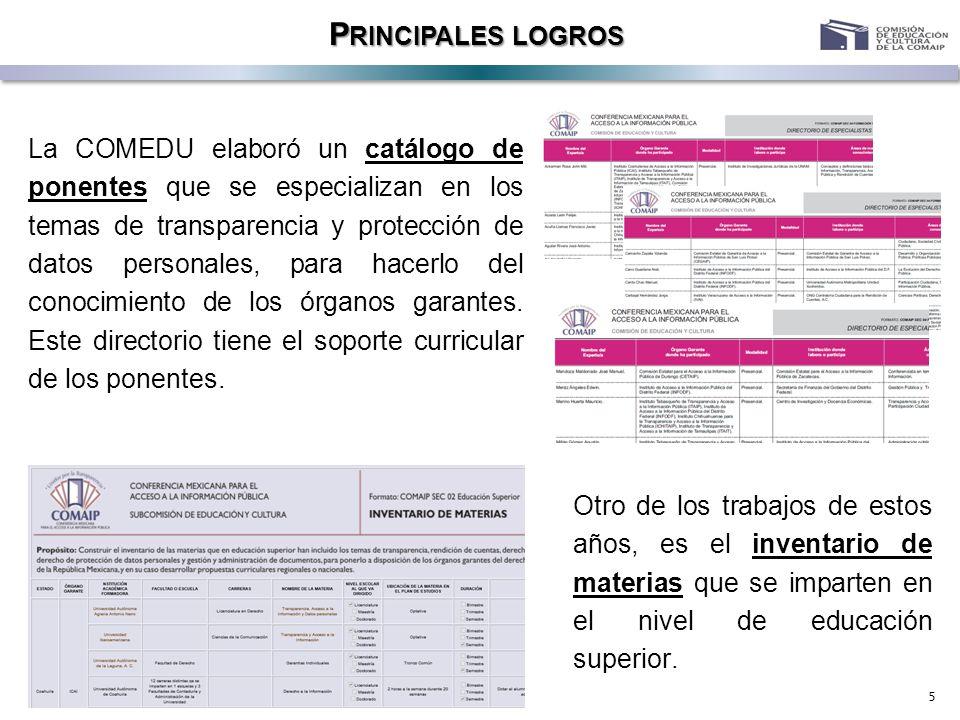 5 P RINCIPALES LOGROS La COMEDU elaboró un catálogo de ponentes que se especializan en los temas de transparencia y protección de datos personales, pa