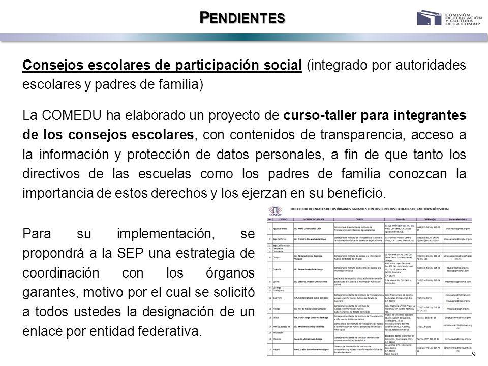 9 P ENDIENTES Consejos escolares de participación social (integrado por autoridades escolares y padres de familia) La COMEDU ha elaborado un proyecto