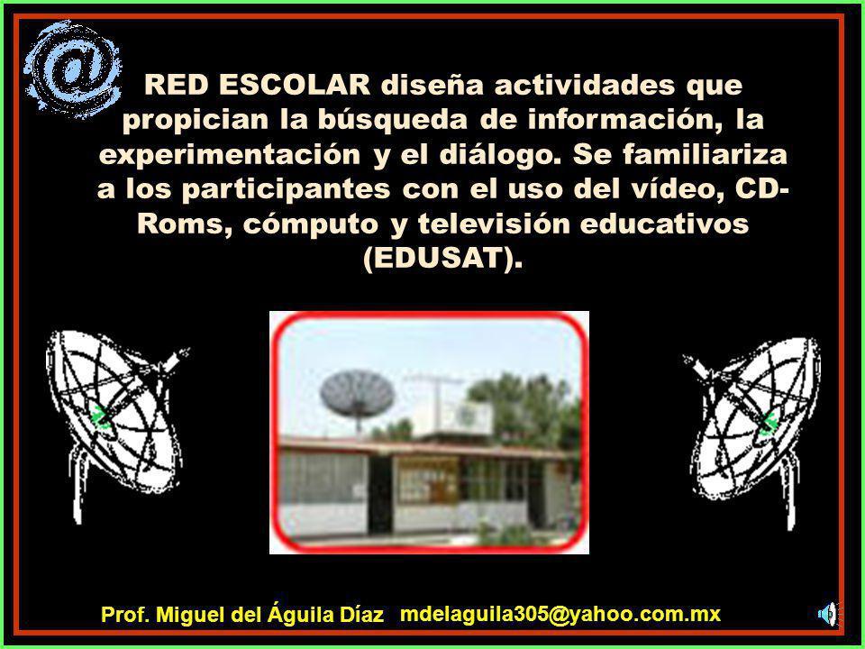 RED ESCOLAR del Proyecto Sec21 cuenta con computadoras multimedia, una conexión a Internet, antena y decodificador para la señal de Edusat, pizarrones