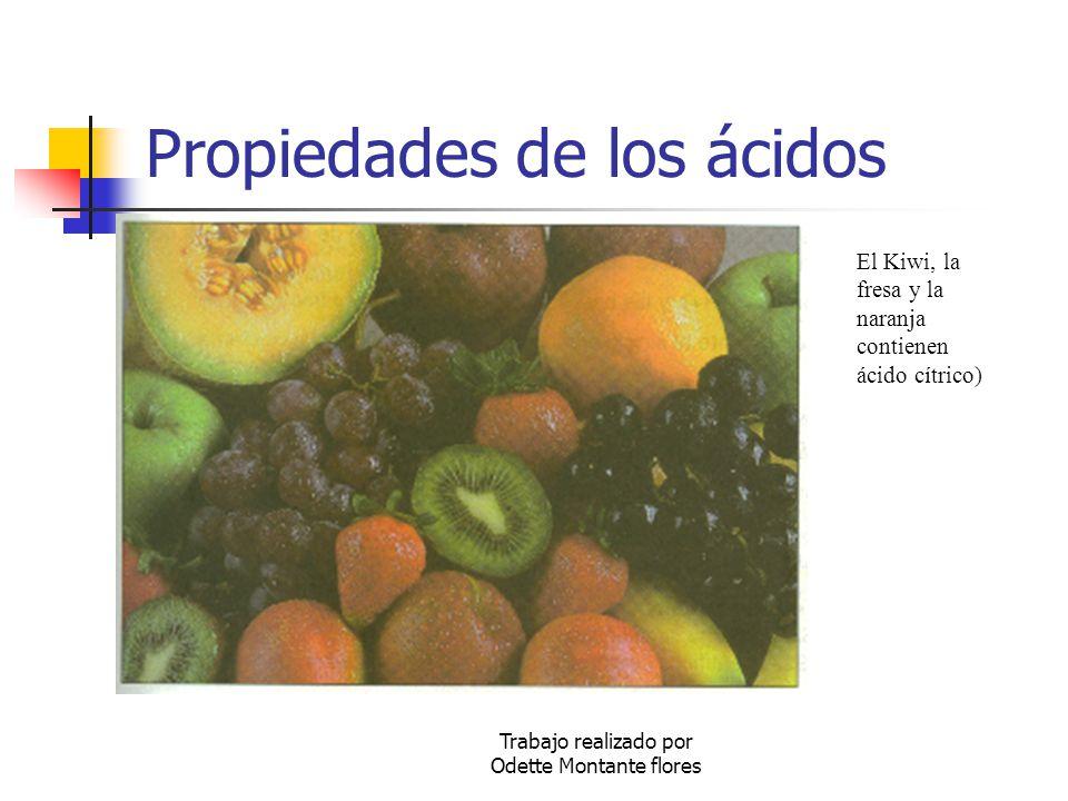 Trabajo realizado por Odette Montante flores Propiedades de los ácidos El Kiwi, la fresa y la naranja contienen ácido cítrico)