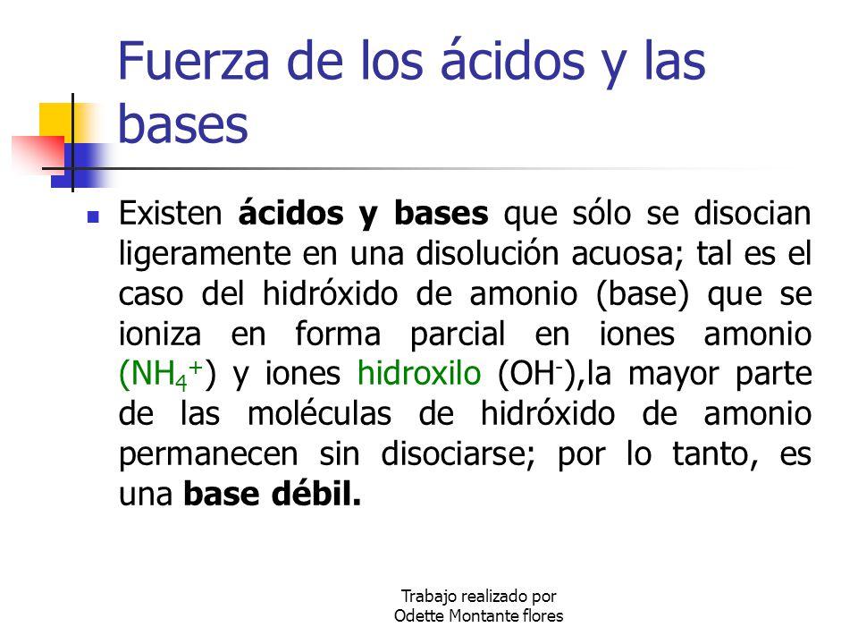 Trabajo realizado por Odette Montante flores Fuerza de los ácidos y las bases Existen ácidos y bases que sólo se disocian ligeramente en una disolució