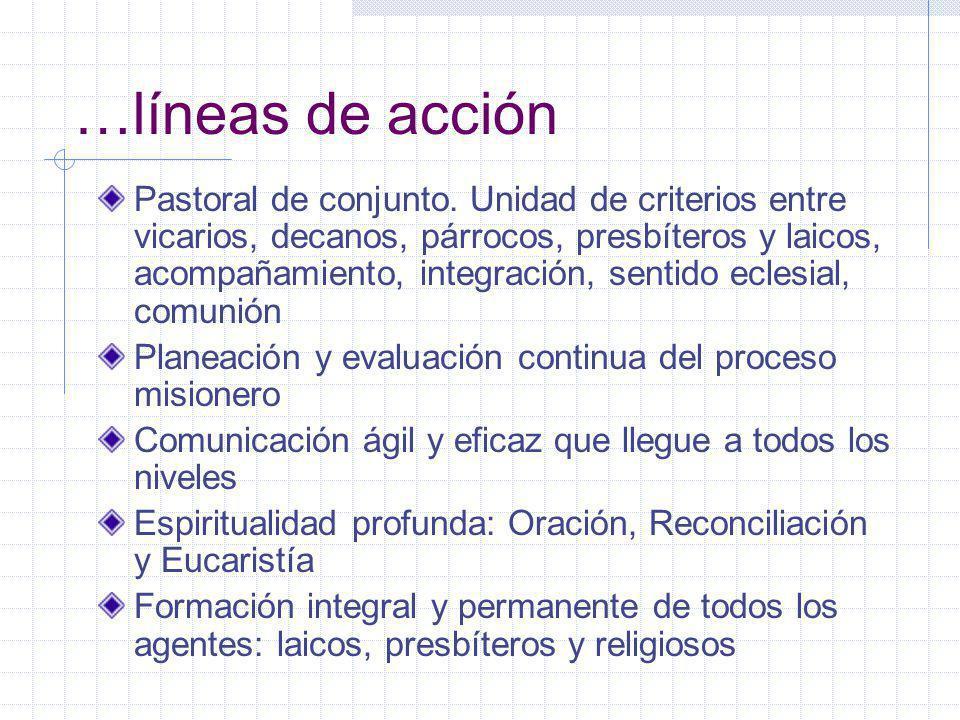 …líneas de acción Pastoral de conjunto.