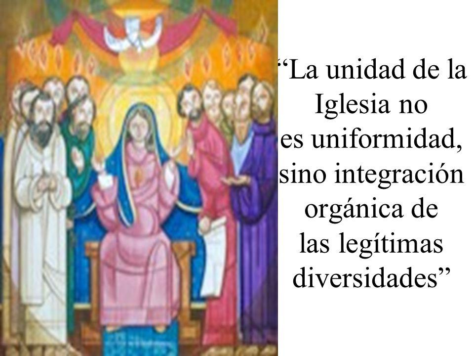 La unidad de la Iglesia no es uniformidad, sino integración orgánica de las legítimas diversidades