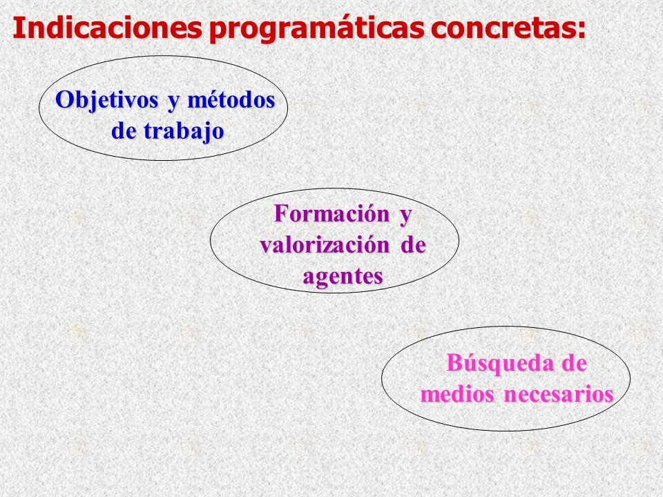 Indicaciones programáticas concretas: Objetivos y métodos de trabajo de trabajo Formación y valorización de agentes Búsqueda de medios necesarios