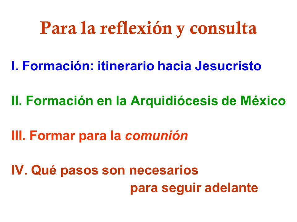 Para la reflexión y consulta I. Formación: itinerario hacia Jesucristo II. Formación en la Arquidiócesis de México III. Formar para la comunión IV. Qu