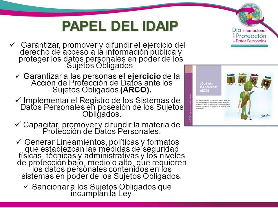 PAPEL DEL IDAIP Garantizar, promover y difundir el ejercicio del derecho de acceso a la información pública y proteger los datos personales en poder d