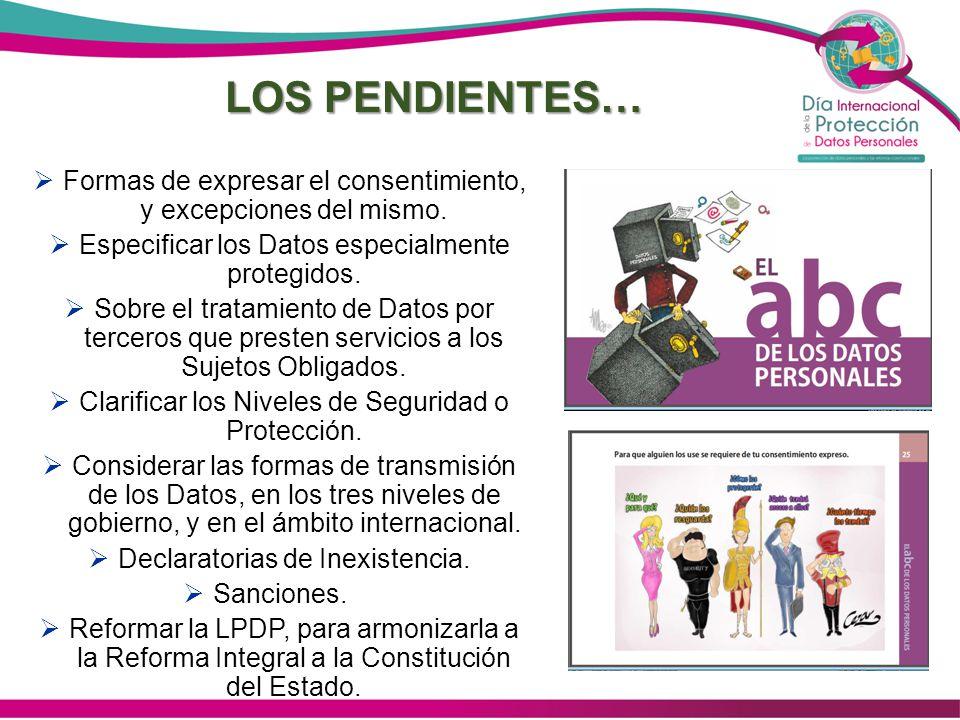 LOS PENDIENTES… Formas de expresar el consentimiento, y excepciones del mismo. Especificar los Datos especialmente protegidos. Sobre el tratamiento de