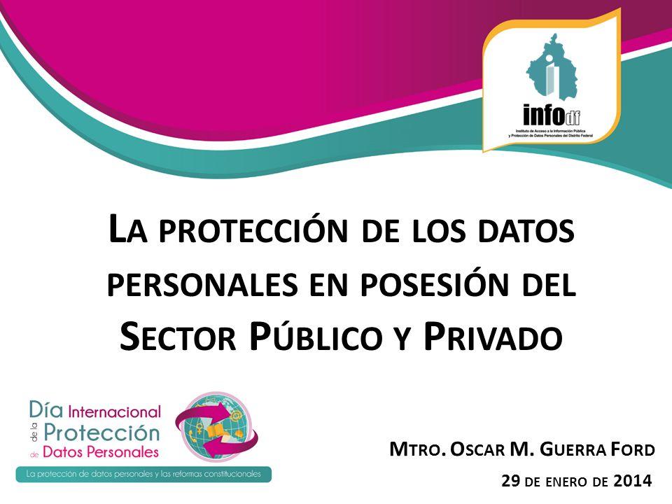 L A PROTECCIÓN DE LOS DATOS PERSONALES EN POSESIÓN DEL S ECTOR P ÚBLICO Y P RIVADO M TRO. O SCAR M. G UERRA F ORD 29 DE ENERO DE 2014