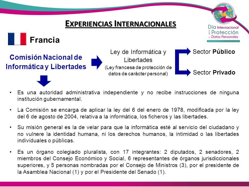 E XPERIENCIAS I NTERNACIONALES Francia Comisión Nacional de Informática y Libertades Ley de Informática y Libertades (Ley francesa de protección de da