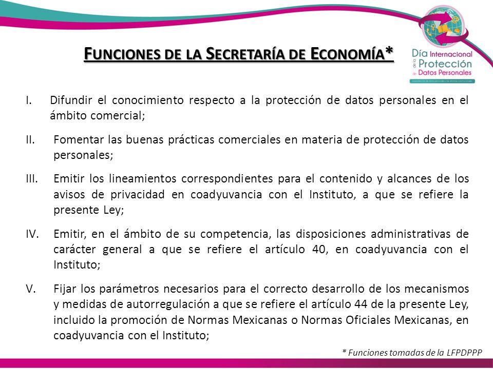 F UNCIONES DE LA S ECRETARÍA DE E CONOMÍA * I.Difundir el conocimiento respecto a la protección de datos personales en el ámbito comercial; II.Fomenta