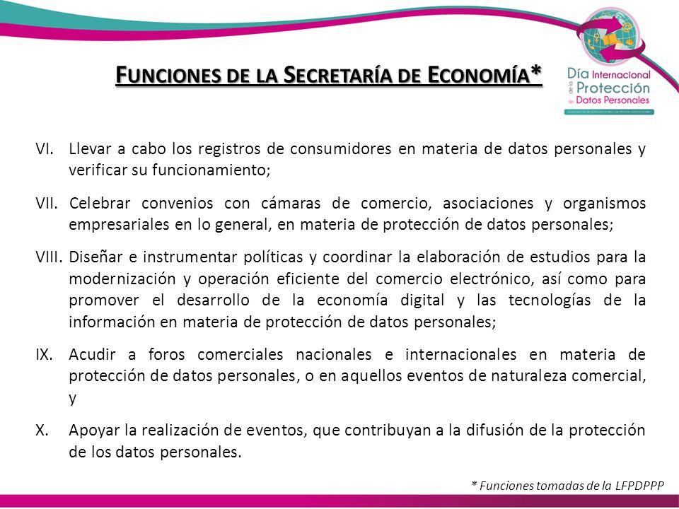 F UNCIONES DE LA S ECRETARÍA DE E CONOMÍA * VI.Llevar a cabo los registros de consumidores en materia de datos personales y verificar su funcionamient