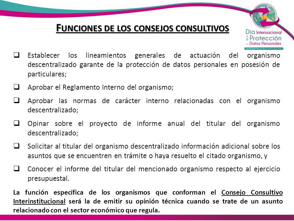 F UNCIONES DE LOS CONSEJOS CONSULTIVOS Establecer los lineamientos generales de actuación del organismo descentralizado garante de la protección de da