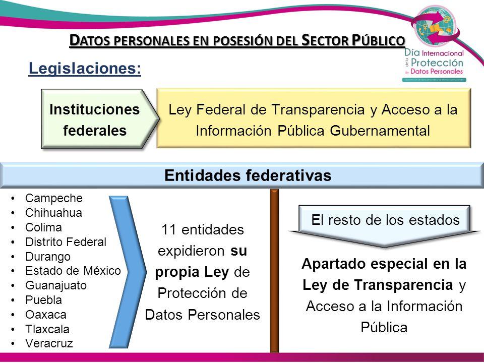 Sujetos obligados a las leyes de Protección de Datos Personales N°Entidad federativaEjecutivoLegislativoJudicialAutónomosMunicipiosPartidos PolíticosOtros -FederaciónSI NO SI 1AguascalientesSI 2Baja CaliforniaSI 3Baja California SurSI NOSI 4CampecheSI 5ChiapasSI NO 6ChihuahuaSI 7CoahuilaSI 8ColimaSI S/DSI 9Distrito FederalSI 10DurangoSI 11Estado de MéxicoSI NOSI 12GuanajuatoSI NOSI 13GuerreroSI 14HidalgoSI 15JaliscoSI 16MichoacánSI 17MorelosSI 18NayaritSI 19Nuevo LeónSI NOSI 20OaxacaSI NOSI 21PueblaSI 22QuerétaroSI NO SI 23Quintana RooSI NO 24San Luis PotosíSI 25SinaloaSI 26SonoraSI 27TabascoSI 28TamaulipasSI NOSI 29TlaxcalaSI 30VeracruzSI 31YucatánSI NOSI 32ZacatecasSI Total afirmativas33 322131
