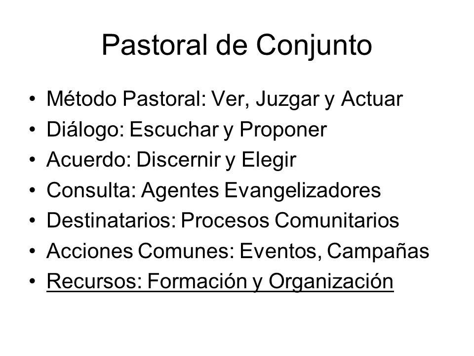 Pastoral de Conjunto Método Pastoral: Ver, Juzgar y Actuar Diálogo: Escuchar y Proponer Acuerdo: Discernir y Elegir Consulta: Agentes Evangelizadores