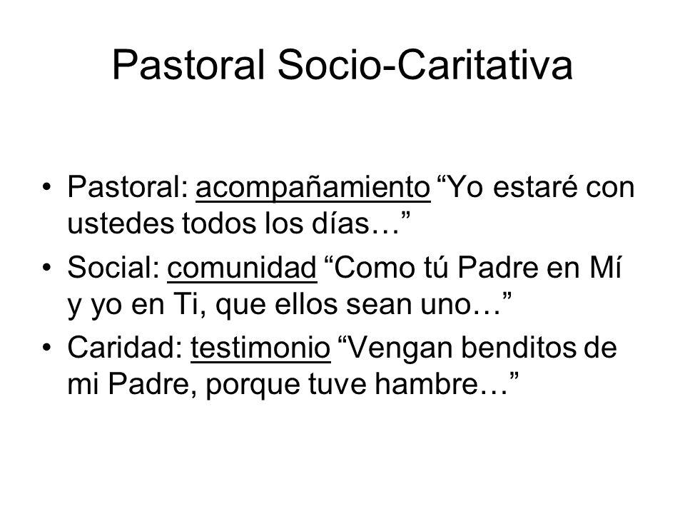 Pastoral Socio-Caritativa Pastoral: acompañamiento Yo estaré con ustedes todos los días… Social: comunidad Como tú Padre en Mí y yo en Ti, que ellos s