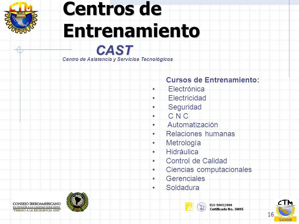 16 Centros de Entrenamiento CAST Centro de Asistencia y Servicios Tecnológicos Cursos de Entrenamiento: Electrónica Electricidad Seguridad C N C Autom