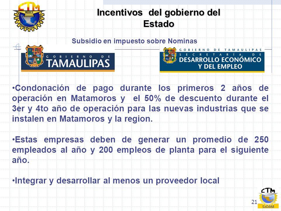 21 Subsidio en impuesto sobre Nominas Condonación de pago durante los primeros 2 años de operación en Matamoros y el 50% de descuento durante el 3er y