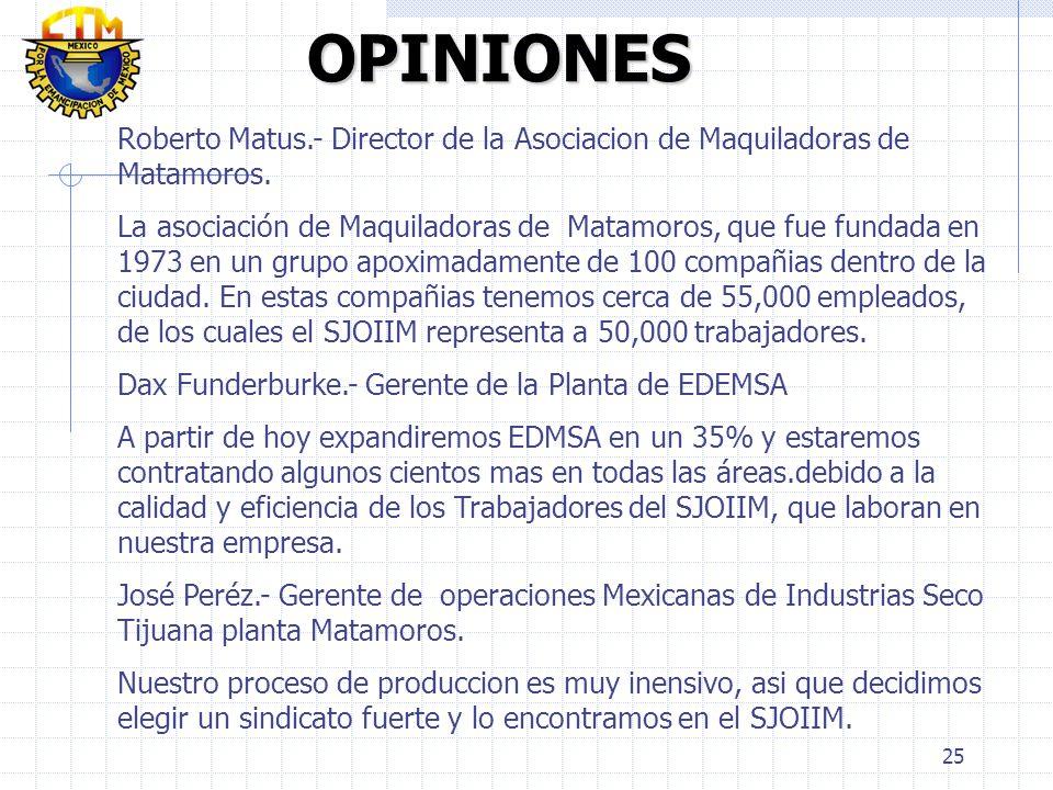25 OPINIONES OPINIONES Roberto Matus.- Director de la Asociacion de Maquiladoras de Matamoros. La asociación de Maquiladoras de Matamoros, que fue fun