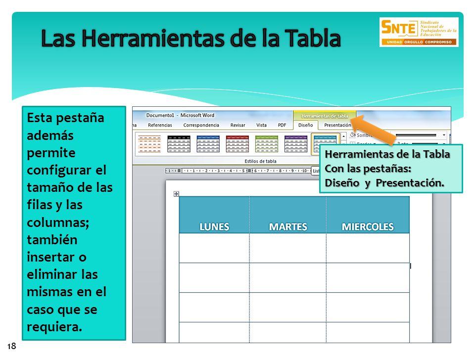 Herramientas de la Tabla Con las pestañas: Diseño y Presentación. Esta pestaña además permite configurar el tamaño de las filas y las columnas; tambié
