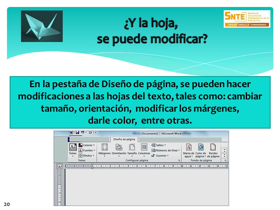 En la pestaña de Diseño de página, se pueden hacer modificaciones a las hojas del texto, tales como: cambiar tamaño, orientación, modificar los márgenes, darle color, entre otras.