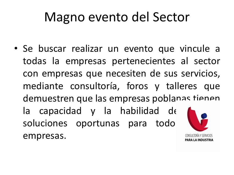 Se buscar realizar un evento que vincule a todas la empresas pertenecientes al sector con empresas que necesiten de sus servicios, mediante consultorí