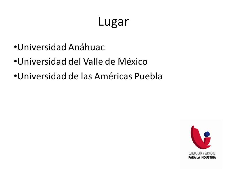 Lugar Universidad Anáhuac Universidad del Valle de México Universidad de las Américas Puebla