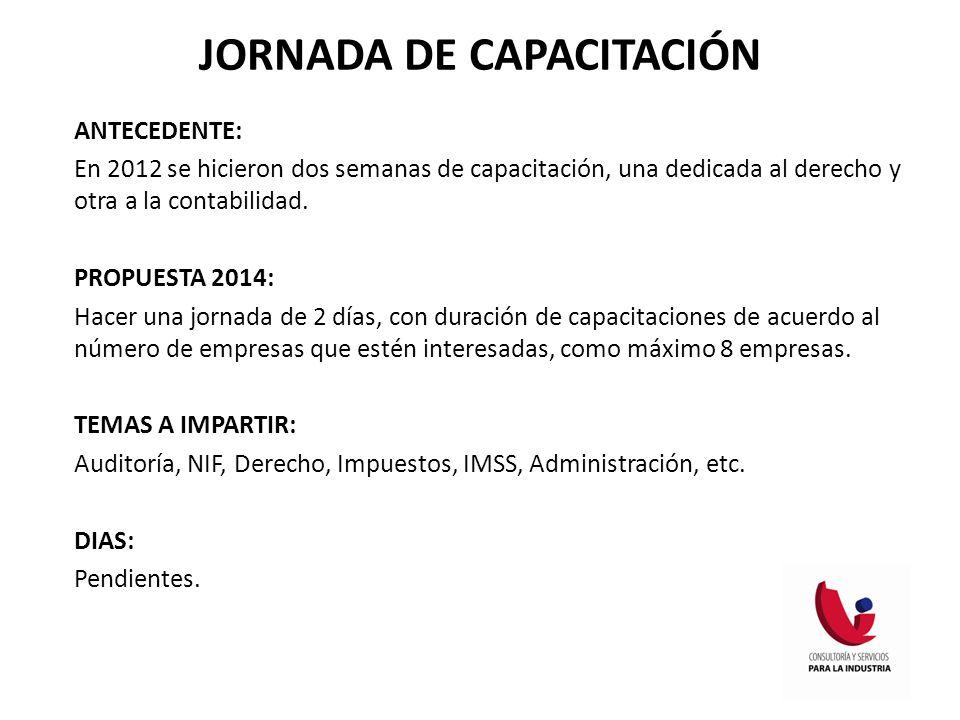 JORNADA DE CAPACITACIÓN ANTECEDENTE: En 2012 se hicieron dos semanas de capacitación, una dedicada al derecho y otra a la contabilidad. PROPUESTA 2014