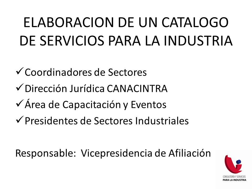 Coordinadores de Sectores Dirección Jurídica CANACINTRA Área de Capacitación y Eventos Presidentes de Sectores Industriales Responsable: Vicepresidencia de Afiliación ELABORACION DE UN CATALOGO DE SERVICIOS PARA LA INDUSTRIA