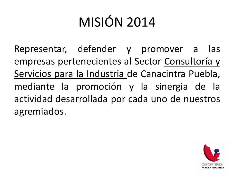 MISIÓN 2014 Representar, defender y promover a las empresas pertenecientes al Sector Consultoría y Servicios para la Industria de Canacintra Puebla, mediante la promoción y la sinergia de la actividad desarrollada por cada uno de nuestros agremiados.