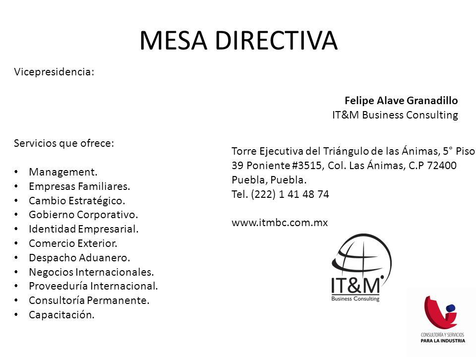 MESA DIRECTIVA Vicepresidencia Comunicación: Martha Solís Cabrera Despacho Elizondo Cantú Servicios que ofrece: Auditoría.
