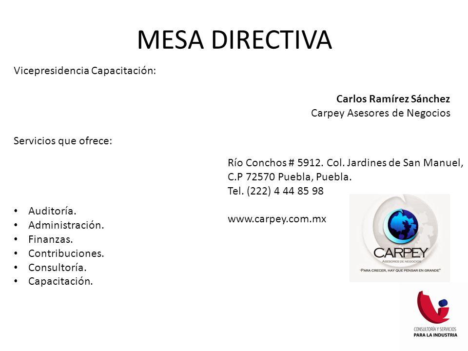 MESA DIRECTIVA Vicepresidencia Capacitación: Carlos Ramírez Sánchez Carpey Asesores de Negocios Servicios que ofrece: Auditoría. Administración. Finan