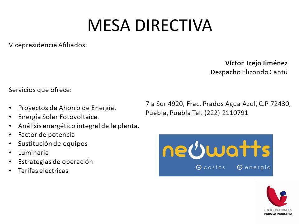 MESA DIRECTIVA Vicepresidencia Afiliados: Víctor Trejo Jiménez Despacho Elizondo Cantú Servicios que ofrece: Proyectos de Ahorro de Energía. Energía S
