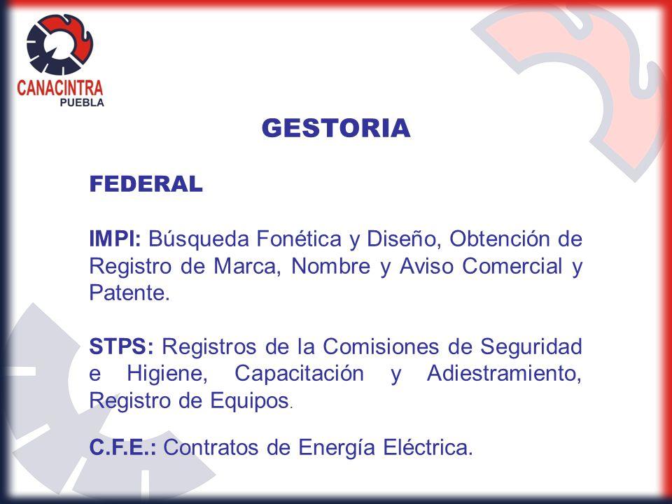 GESTORIA FEDERAL IMPI: Búsqueda Fonética y Diseño, Obtención de Registro de Marca, Nombre y Aviso Comercial y Patente. STPS: Registros de la Comisione
