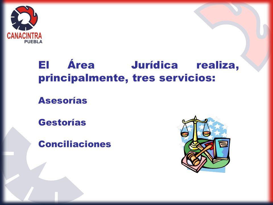 El Área Jurídica realiza, principalmente, tres servicios: Asesorías Gestorías Conciliaciones