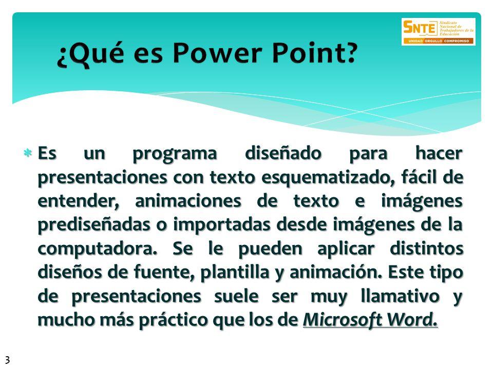 Es un programa diseñado para hacer presentaciones con texto esquematizado, fácil de entender, animaciones de texto e imágenes prediseñadas o importada