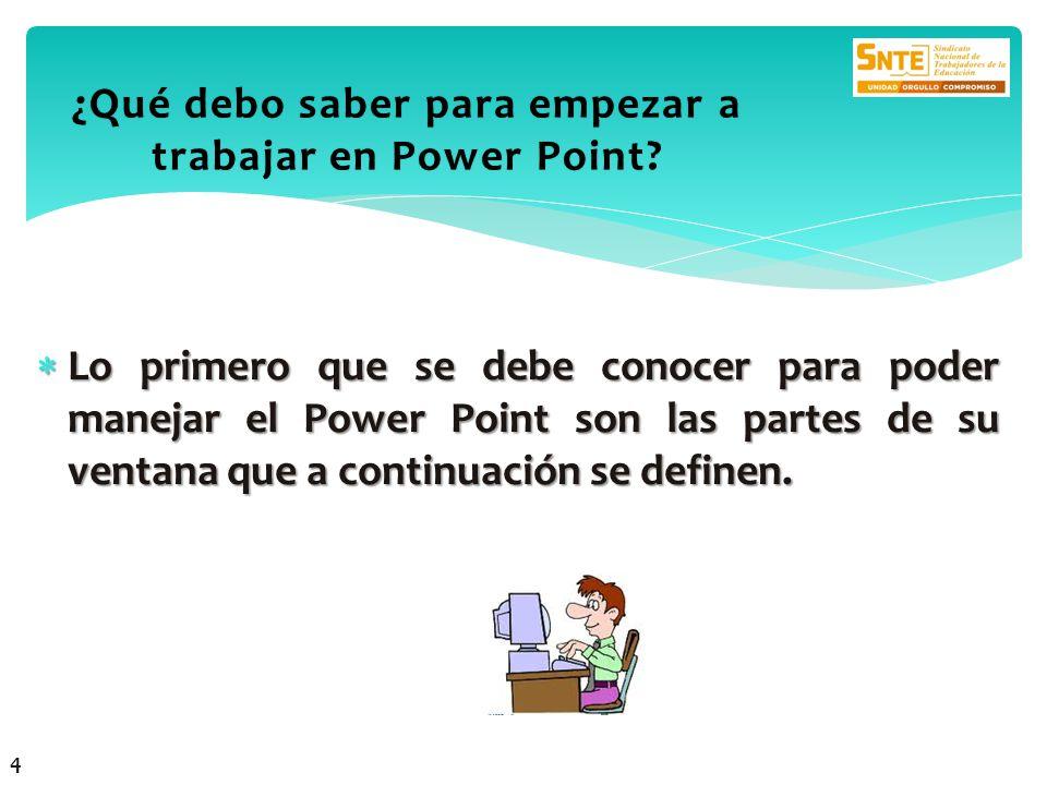 Lo primero que se debe conocer para poder manejar el Power Point son las partes de su ventana que a continuación se definen. Lo primero que se debe co